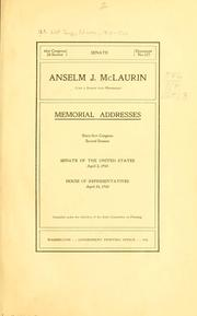 Cover of: Anselm J. McLaurin (late a senator from Mississippi) | United States. 61st Congress, 2d session