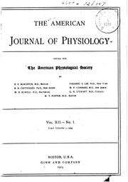 Cover of: American Journal of Physiology by American Physiological Society (1887- )