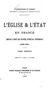 Cover of: L'Église et l'État en France | Georges Desdevises du Dezert