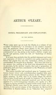 Cover of: Arthur O'Leary: his wanderings and ponderings in many lands by Charles James Lever
