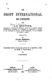 Cover of: Le droit international de l'Europe | Jules Bergson