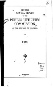Cover of: Annual Report of the Public Utilities Commission of the District of Columbia by Public Utilities Commission of the District of Columbia