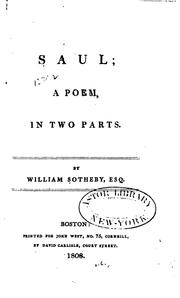 Cover of: Saul: A Poem, in Two Parts by William Sotheby