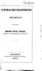 Cover of: Antimachi Colophonii Reliquias by Antimachus