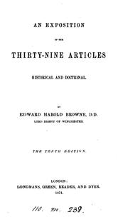 Cover of: An Exposition of the Thirty-nine Articles: Historical and Doctrinal by Edward Harold Browne