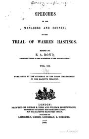 Cover of: Speeches of the Managers and Counsel in the Trial of Warren Hastings by Warren Hastings
