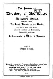 Cover of: The International Directory of Booksellers and Bibliophile's Manual by James Clegg