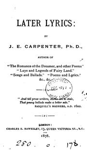 Cover of: Later lyrics by Joseph Edwards Carpenter