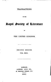Cover of: Transactions of the Royal Society of Literature of the United Kingdom by Royal Society of Literature (Great Britain)