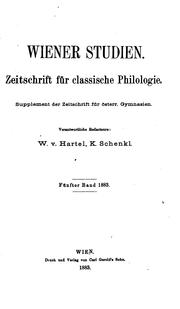 Cover of: Wiener Studien by Wilhelm August Hartel, Karl Schenkl