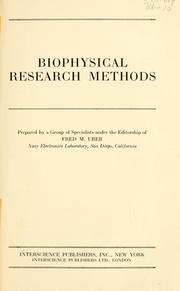 Cover of: Biophysical research methods | Fred Murray Uber