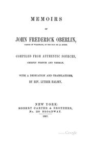 Cover of: Memoirs of John Frederick Oberlin: Pastor of Waldbach, in the Ban de la Roche by Luther Halsey