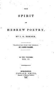 Cover of: the spirit of hebrew poetry by James marsh