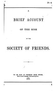 Cover of: A Brief Account of the Rise of the Society of Friends by Thomas Evans
