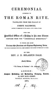Cover of: Ceremonial according to the Roman rite, tr. with notes by J.D.H. Dale by Giuseppe Baldeschi