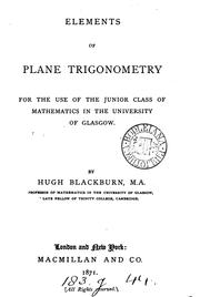 Cover of: Elements of plane trigonometry by Hugh Blackburn