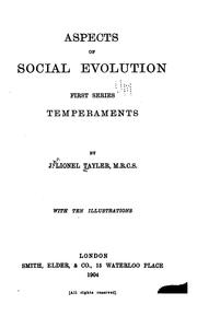Cover of: Aspects of Social Evolution: First Series by John Lionel Tayler