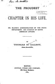Cover of: The proudest chapter in his life by Thomas H. Talbot