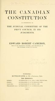 Cover of: The Canadian constitution | Edward Robert Cameron