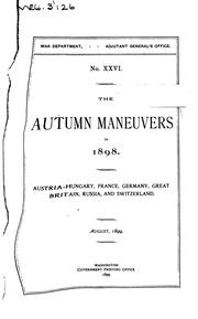 Cover of: Autumn Maneuvers of 1898 by United States Military Information Division. War Dept