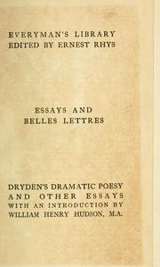 Cover of: Dramatic essays | John Dryden