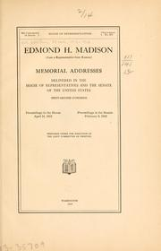 Cover of: Edmond H. Madison (late a representative from Kansas) | United States. 62d Congress, 3d session