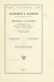 Cover of: Ellsworth R. Bathrick | United States. 65th Congress, 2d session