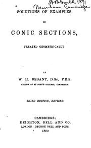 Cover of: Solutions of Examples in Conic Sections by William Henry Besant