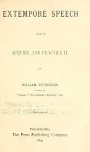 Cover of: Extempore speech | William Pittenger