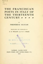 Cover of: The Franciscan poets in Italy of the thirteenth century | Frédéric Ozanam