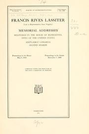 Cover of: Francis Rives Lassiter (late a representative from Virginia) by United States. 61st Congress, 2d session