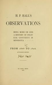 Cover of: H. P. Hall's observations by H. P. Hall