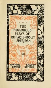Cover of: The humorous plays of Richard Brinsley Sheridan | Richard Brinsley Sheridan