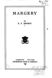 Cover of: Margery by Edward Frederic Benson