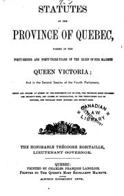 Cover of: Statutes of the Province of Quebec by Québec (Province)