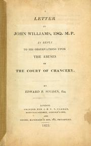 Cover of: A letter to John Williams by Edward Burtenshaw Sugden