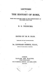 Cover of: Lectures on the History of Rome: From the Earliest Times to the Commencement of the First Punic War | Niebuhr, Barthold Georg