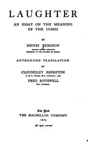 Cover of: Laughter: An Essay on the Meaning of the Comic by Henri Bergson