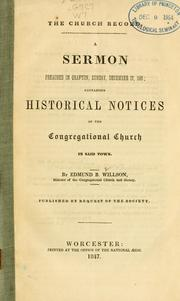 Cover of: The church record | Edmund Burke Willson