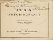 Cover of: Lincoln's autobiography | Abraham Lincoln