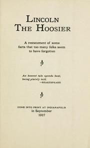 Cover of: Lincoln, the Hoosier | Theodore Thomas Frankenberg