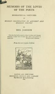 Cover of: Memoirs of the loves of the poets | Mrs. Anna Jameson