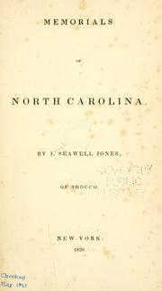 Cover of: Memorials of North Carolina by Jones, Jo. Seawell