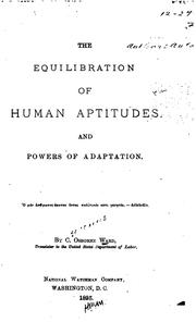 Cover of: Equilibration of Human Aptitudes and Powers of Adaptation by Cyrenus Osborne Ward
