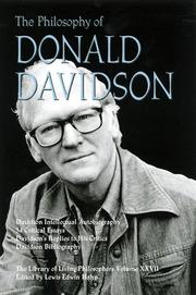 Cover of: The philosophy of Donald Davidson | Lewis Edwin Hahn