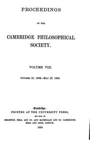 Cover of: Proceedings of the Cambridge Philosophical Society by Cambridge Cambridge Philosophical Society