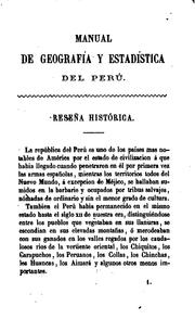 Cover of: Manual de geografía y estadística del Perú by Baldomero Menéndez