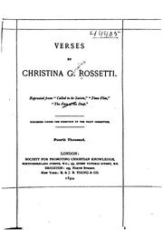 Cover of: Verses by Christina Georgina Rossetti