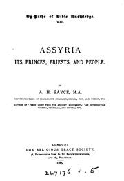 Cover of: Assyria: its princes, priests, and people | Archibald Henry Sayce