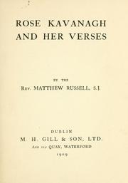 Cover of: Rose Kavanagh and her verses | Russell, Matthew